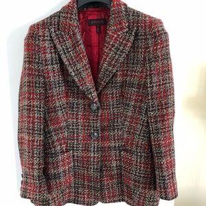 Escada wool blend tweed jacket blazer red brown 40